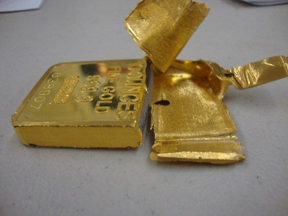 Поддельный слиток золота